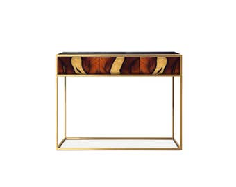 Console Table OXARA. Entrance Table. Narrow Table. Handmade furniture. Inlay furniture. Brass.