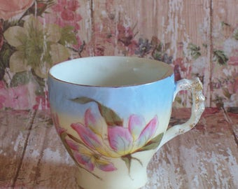 Vintage Mustache Cup with beautiful Pink flowers unmarked