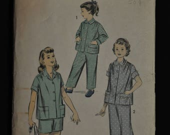 1950's Girl's Pajama Pattern, - Size 12 - Advance 7875