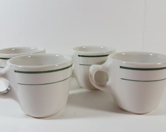 Vintage Resturant Buffalo Diner Mugs, Set of 4, White with Green Accents