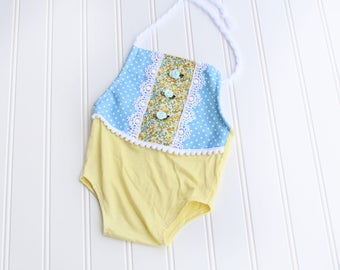 You Are My Sunshine - newborn halter romper in yellow, sky blue, light blue, a touch of marigold and white (RTS)