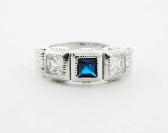 1930s Ring In Sterling Silver with Simulated Sapphires and Diamonds