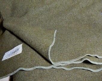 Military Wool Army Blanket WW2 Era Washable Wool Warm Army Green .