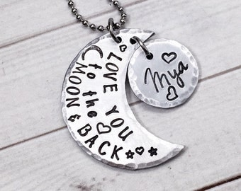Love You to the Moon & Back Necklace - Moon and Back Jewelry - to the Moon Necklace - Moon Jewelry - Crescent Moon Necklace