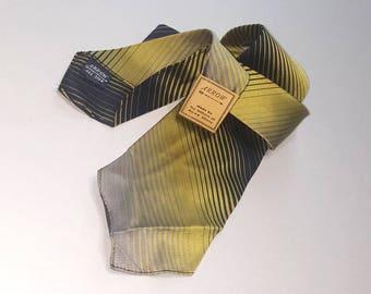 Vintage 30s necktie silk tie / dapper dandy cravat / Boardwalk Empire / 1930s gangster / navy yellow gray stripe / Arrow NOS deadstock