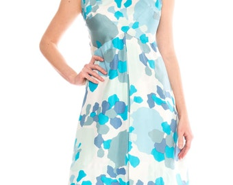 1950s Silk Blue Mod Mini Dress With Abstract Print Size: S