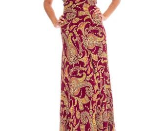 1930s Plum Paisley V-neck Bias Cut Maxi Dress Size: XS