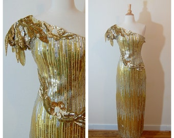 Gold Sequin Dress 1980's Alyce Designs Fancy Silver and Gold One Strap Fitted Evening Gown Unique Avant Garde Rare size Small