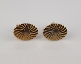 1980s Oval Sunburst Cuff Links Gold Tone Metal Cufflinks Swirl Pattern