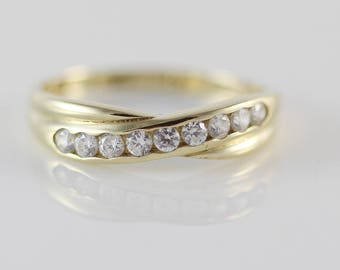 9ct Gold Ladies Half Eternity Ring with Small CZ Clear Set Stones   Size UK N 1/2 and US 7