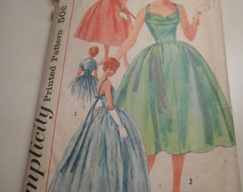 Vintage 1950's Simplicity 1848 Dress Sewing Pattern, Size 14 Bust 34