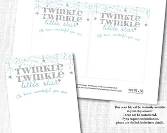 TWINKLE TWINKLE little star, blue silver thank you note card, birthday boy, diy printable digital file instant download