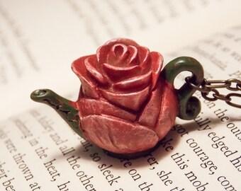 Rose Teapot Necklace