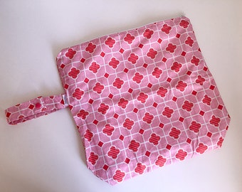Wet /Dry Bag with Snap Handle - Waterproof Zipper Bag, Pink Tile