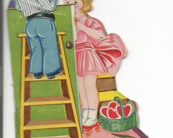 Vintage 1940's Mechanical  Boy on Ladder Valentine