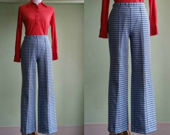 "1970's Plaid Pants - Vintage 70s Poly Pants - Blues and White - 29-32"" Waist"