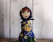 Matryoshka - Babushka Felt Art Doll, inspired by Van Gogh Starry Night, hand cut and hand stitched