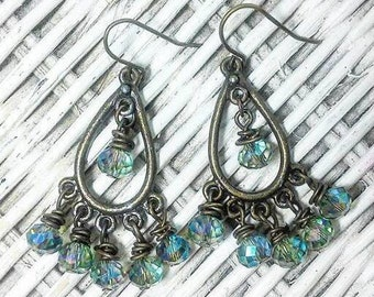 Antique Bronze Chandelier Earrings, beaded earrings