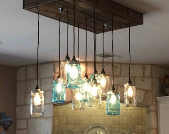 Mason Jar Chandelier. Mason Jar Light (custom sizing offered)