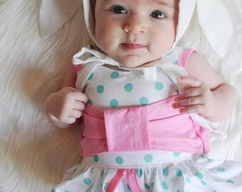 Baby Girl Bunny Romper - Easter Romper - Infant Girl Outfit - Baby Boutique Outfit - Baby Ruffle Romper - Baby Fashion - White Floral Romper