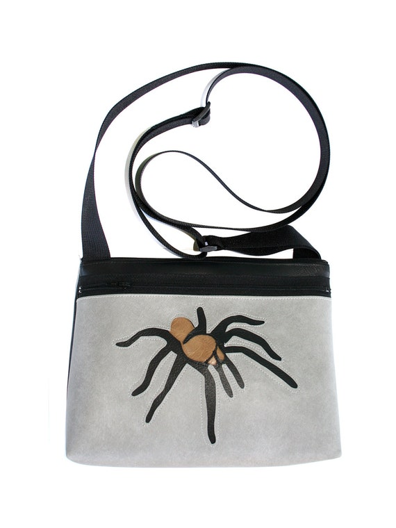 Tarantula, grey vinyl, boxy cross body, vegan leather, zipper top