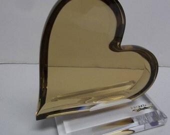 On Sale!!!  SIGNED SHOLOMI HAZIZA Acrylic Lucite Loving Heart Sculpture Hstudio 2270