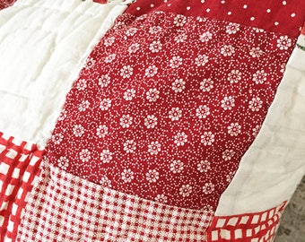 Red and White Quilted Pillow 18 x 18 with Down Insert and Zipper Back
