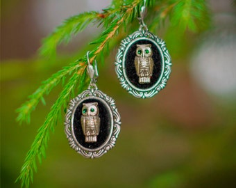"Gorgeous Black Velvet Owl Gothic Earrings ""Owls"" Victorian Estate Jewelry"