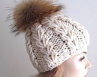 Chunky Wool Beanie with Raccoon Fur PomPom Cream White  Cap Skull Hat fall winter Hand Made Accessory