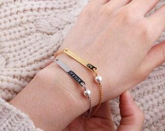 pearl Bracelet, Bridesmaid gift, Swarovski Pearl bracelet , Personalized Bar Bracelet, Gold Bar Bracelet,Coordinates,name bar bracelet,