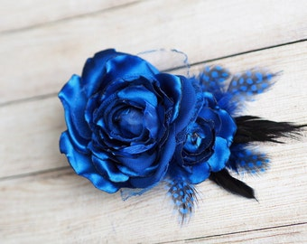 Bridal Hair Clip, Feather Fascinator, Blue Head Piece, Royal Blue Accessory, Feather Hair Piece, Blue Bridal Clip, Royal Blue Fascinator
