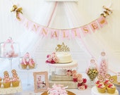 PINK and GOLD Baby Shower BANNER / Pink and Gold First Birthday / Princess banner / Cake smash banner / Princess baby shower. Princess crown