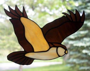 Owl Stained Glass Bird, Wildlife art, Owl Suncatcher, Stained Glass Owl, Glass Art
