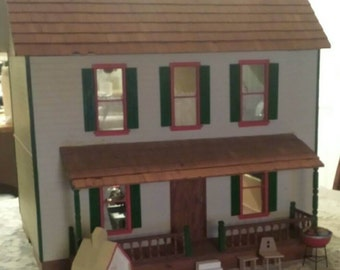 ON SALE! Beautiful Antique Wood Dollhouse Furnished Complete
