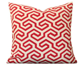 Schumacher Ming Fret Pillow Cover n Red