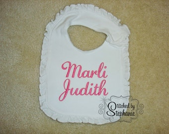 Custom embroidered personalized monogrammed hot pink name ruffle baby bib