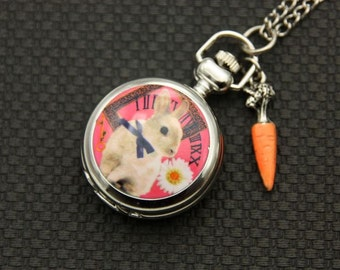 Necklace Pocket watch rabbit and carrot 2222m