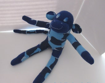 Camo Sock Monkey Camouflage Blue Army Soft Doll Handmade Toy