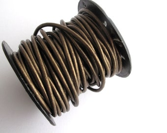 2mm Round Metallic Bronze Leather Cord for jewelry making (2 YARDS) - great for necklaces and bracelets