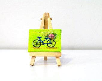 Mini canvas painting Small bike art - small bike painting - small paintings - small bike canvas - mini canvas acrylic - bicycle art