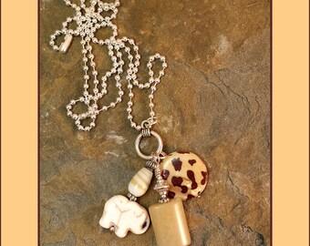 "Elephant, Ganesh, Jade, Mother of Pearl, Earthy Bohemian Pendant Dangle Necklace, 24"" Length Silver Ball Chain"
