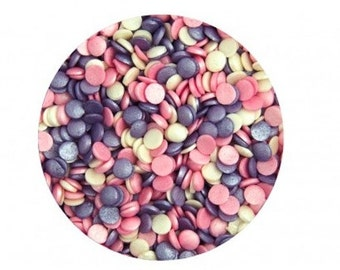 Pink, Purple, White Mix Confetti Quins Sequins Sprinkles for cake, cupcake, & cookie decorating