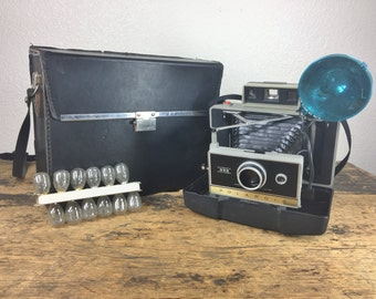 Polaroid Automatic 335 Land Camera with Original Case, Flash, and Bulbs