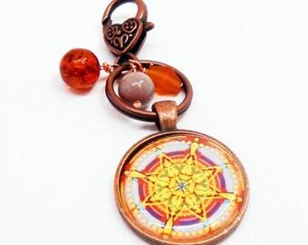 Colorful Mandala Purse Charm, Key Chain, Handbag Charm, Southwestern Style, Zipper Pull, Backpack Charm, Gifts for Mom, BFF Gifts