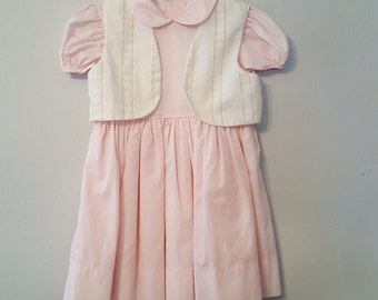 Vintage Girls Pink Dress and White Lace Vest  - Size 6 - New, never worn