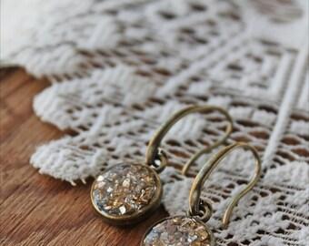 Gold Earrings,  Gold Dangle Earrings,  Round Earrings, Drop Earrings, Gold Earrings, Resin Jewelry, Gold and Silver Earrings
