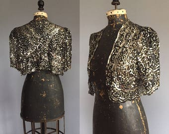 1930s Sequinned Bolero - 30s Silver Sequin Cropped Jacket - S M L XL