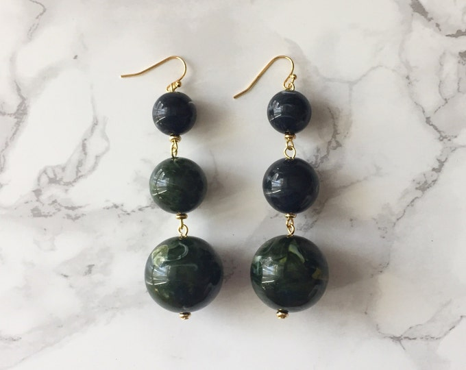 Orbital Drop Earrings - Marbled Black