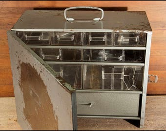 Metal Parts Bin, Front Closing Cabinet With Plastic Dividers and Metal Drawer