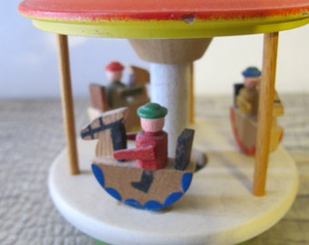 STOCKING STUFFER: West German Handmade Folk Artisan Wood Carousal. Wood Curiosities Miniature Merry Go Round Mini Carousal, Spins. German